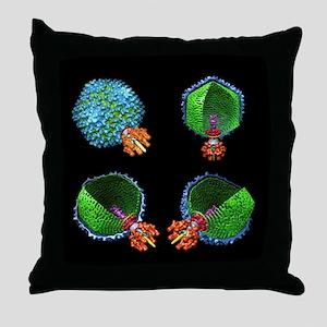 Bacteriophage P22, computer model - Throw Pillow