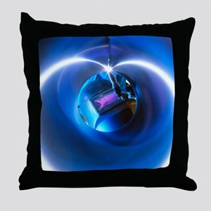 Welder welding stainless steel tube - Throw Pillow