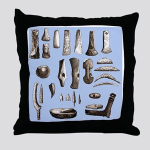 Prehistoric stone tools - Throw Pillow