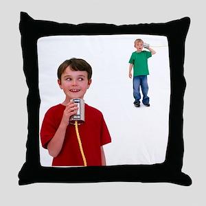 Tin can telephone - Throw Pillow