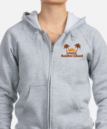 Sanibel Island - Palm Trees Design. Zip Hoody