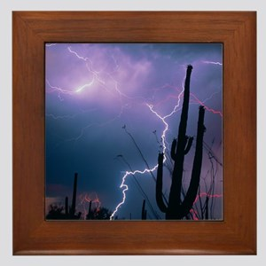 Lightning storm over Tucson, Arizona - Framed Tile