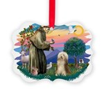 St.Francis #2/ Bearded Colli Picture Ornament
