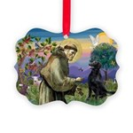 St. Fran/ Flat Coated Ret Picture Ornament