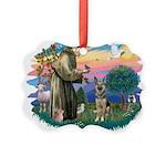 St.Francis #2/ German Shep (P Picture Ornament