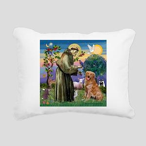 Saint Francis' Golden Rectangular Canvas Pillow