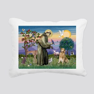 St Francis Golden Rectangular Canvas Pillow