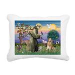 St Francis Golden Rectangular Canvas Pillow