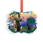 St.Francis #2 / Black Lab Picture Ornament