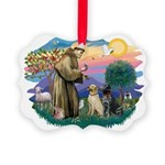 St.Francis #2/ Two Labradors Picture Ornament