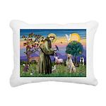 St Francis/Yellow Lab Rectangular Canvas Pillow