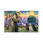 St. Francis/3 Labradors Rectangle Car Magnet