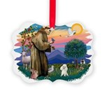 St.Francis #2/ Poodle (Toy W) Picture Ornament