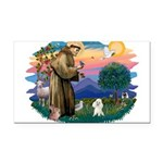 St.Francis #2/ Poodle (Toy W) Rectangle Car Magnet
