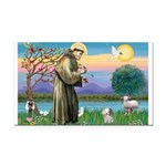 St Francis / Poodle (parti) Rectangle Car Magnet