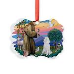 St.Francis #2/ Poodle (Std W) Picture Ornament