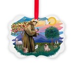 St Francis #2/ Pug (fawn) Picture Ornament
