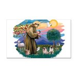 St.Francis #2/ Pugs (2 fawn) Rectangle Car Magnet