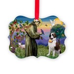St. Francis/ St. Bernard Picture Ornament