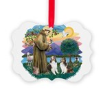 St.Francis (w) / 2 Shelties Picture Ornament