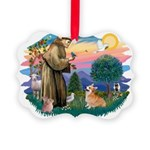St.Francis #2/ Welsh Corgi Picture Ornament