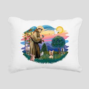 St Francis #2/ Yorkie #17 Rectangular Canvas Pillo