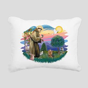 St Francis #2/ Yorkie #7 Rectangular Canvas Pillow