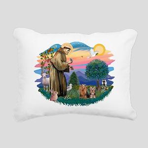 St. Francis / 2 Yorkies Rectangular Canvas Pillow