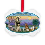 St Francis / dogs-cats Picture Ornament