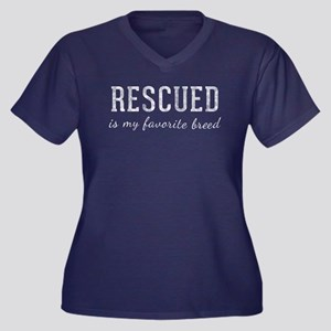 Rescued is Women's Plus Size V-Neck Dark T-Shirt