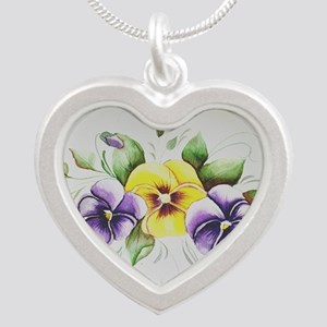 PANSIES Silver Heart Necklace