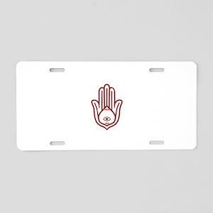 Red Hamsa Aluminum License Plate