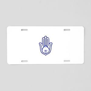 Blue Hamsa Aluminum License Plate