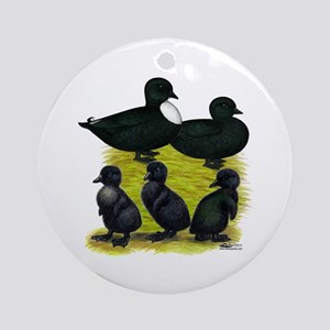 Black Call Duck Family Ornament (Round)