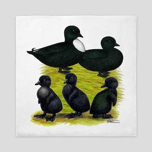 Black Call Duck Family Queen Duvet