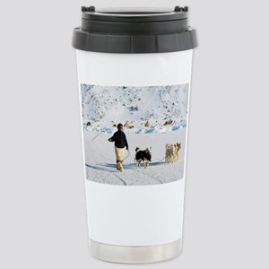 Inuit with dogs - Stainless Steel Travel Mug