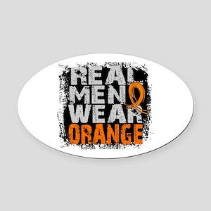 Real Men Leukemia Oval Car Magnet