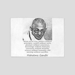 Seven Social Sins - Mahatma Gandhi 5'x7'Area Rug