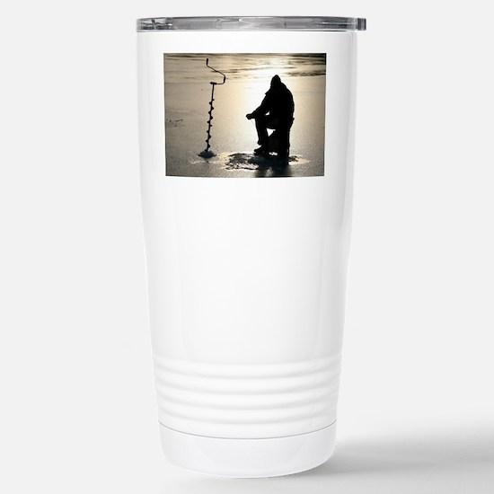 Ice fishing, Sweden - Stainless Steel Travel Mug