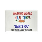 Flu Warning World Rectangle Magnet (100 pack)