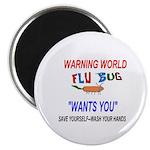 "Flu Warning World 2.25"" Magnet (100 pack)"