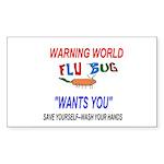 Flu Epidemic Pandemic Sticker (Rectangle 50 pk)