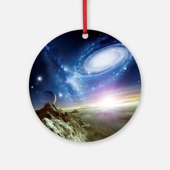 Colliding galaxies, artwork - Round Ornament