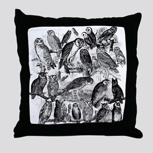Vintage Owls Throw Pillow