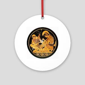 Achilles binding Patroclus' wound - Round Ornament