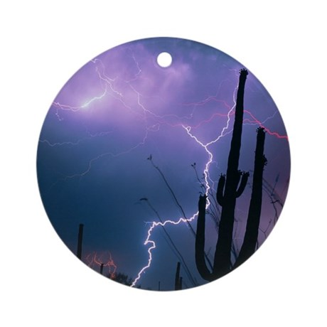 Lightning storm over Tucson, Arizona - Round Ornam