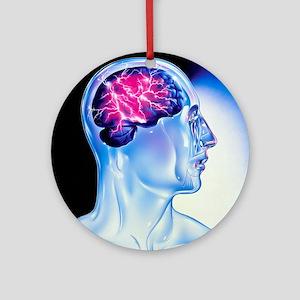 Artwork of epilepsy seen as lightning in brain - R