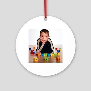 Autistic boy - Round Ornament