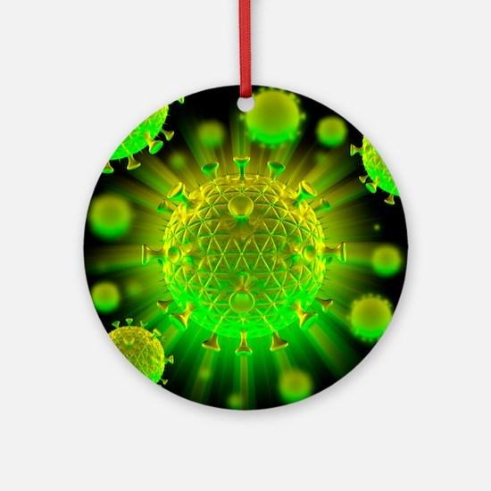 HIV particles - Round Ornament