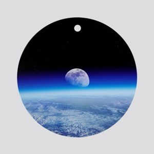 Moon rising over Earth's horizon - Round Ornament